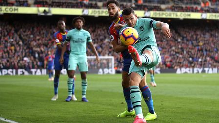Arsenal's Granit Xhaka (right) in action during the Premier League match at Selhurst Park, PA