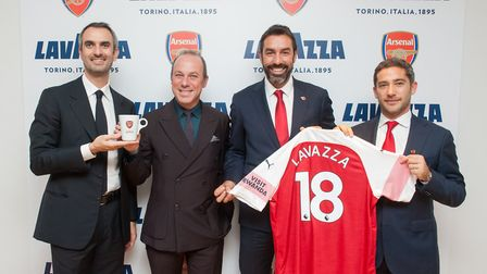 Marco and Guiseppe Lavazza with Peter Silverstone and Robert Pires.
