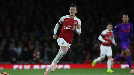 Mesut Özil of Arsenal in the Premier League game between Arsenal v Liverpool at the Emirates Stadium