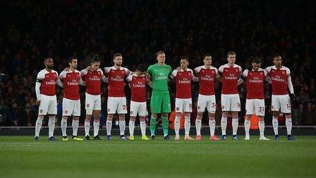 Arsenal line up to pay respect after the tragic events in Leicester last weekend before the Premier