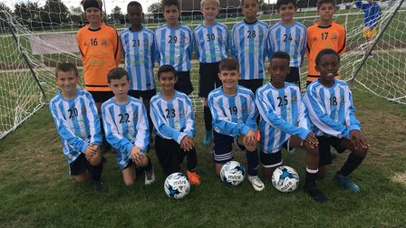 The Brent under-11 boys' football team face the camera (pic: Brent Schools' FA)