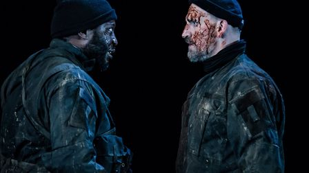 Banquo and Macbeth in the RSC's Macbeth at The Barbican Photo Credit : The Other Richard