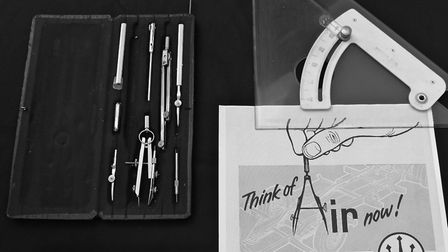 Hazel Barrett's tracing tools and Westinghouse company advert. Picture: Age UK Islington Photograph