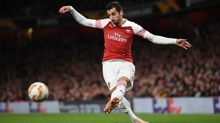 Henrikh Mkhitaryan of Arsenal crosses during the Europa League match at the Emirates Stadium. Pictur