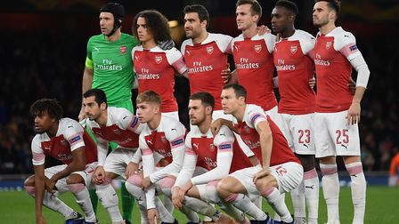 The Arsenal team about to take on Sporting CP, prior to the Europa League match at the Emirates Stad