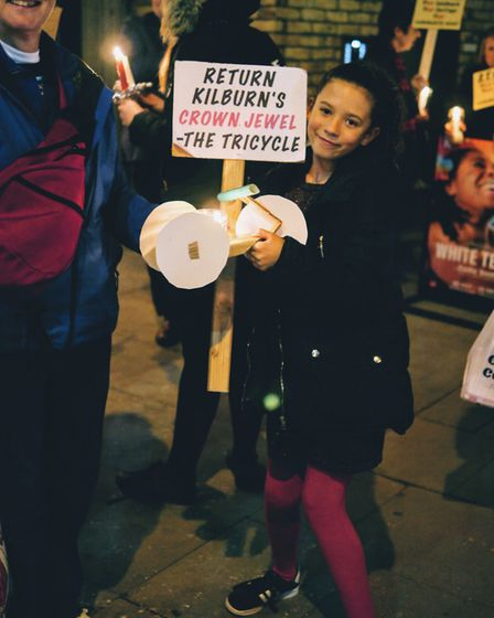 Campaigners outside the Kiln Theatre, formerly Tricycle, protesting its name change. Picture: Marti