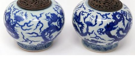 'A pair of late 18th / early 19th century Chinese blue and white porcelain incense burners, decorate