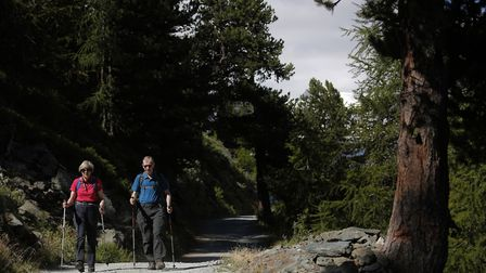Prime Minister Theresa May walks in a forest with her husband Philip on holiday in the Alps in Switz
