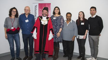 Mayor of Islington Cllr Dave Poyser with the Volunteer of the Year award winners. Picture: Sean Poll