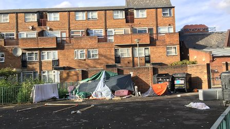 An encampment of homeless people are living in Delhi Outram Estate in King's Cross. Picture: Lucas C