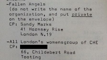 This IGA newsletter lists Sandy Marks as a contact person for Fallen Angels