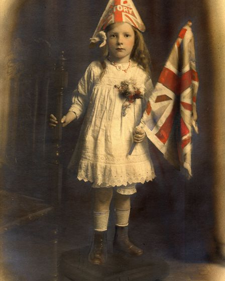 Islington-born Evelyn Hilda Hutchings, aged five years, dressed as 'Victory', 1918/19. Picture: Isli