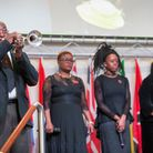 Trumpeter Brother George Davis at the Remembrance Sunday service at New Testament Church, High Road