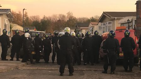 Riot police stayed all day following a dawn raid on a travellers' site in Neasden. Picture: Nathali