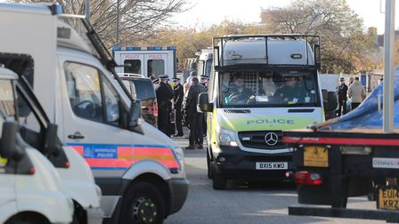 Police outside the travellers site in Neasden. Picture: Angela Blake