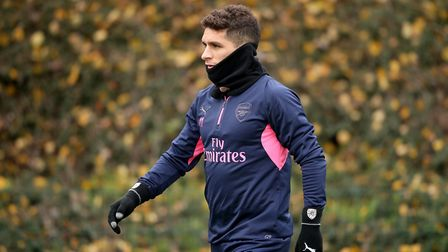 Arsenal's Lucas Torreira during a training session at London Colney, Hertfordshire (pic Adam Davy/PA