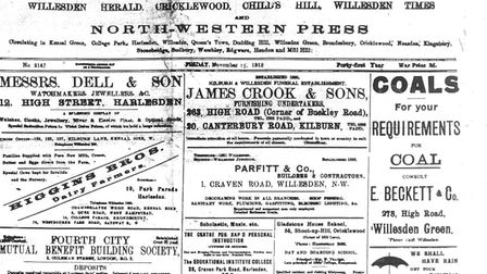 The Kilburn Times, then known as the Willesden Chronicle, from November 1918. Pic: ARCHANT