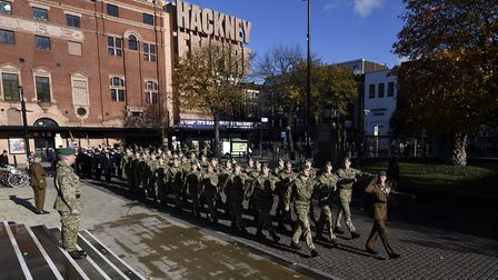 Remembrance Day 2018 is marked in Hackney. Picture: Adam Holt