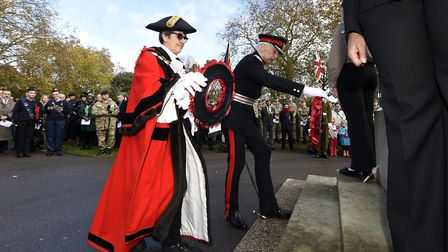 Wreaths are laid at the Cenotaph. Picture: Adam Holt