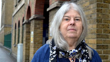 Dr Liz Davies, who leads ISN, outside Islington Police Station. Picture: Polly Hancock.