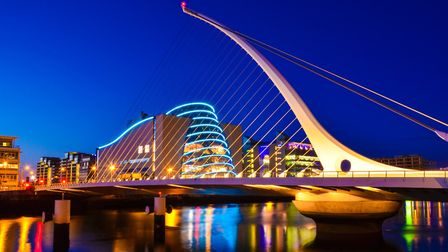 The National Convention Centre and Samuel Beckett Bridge. Picture: danindub / Getty