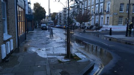 Floodwater in Offord Road. Picture: Kai Cheng