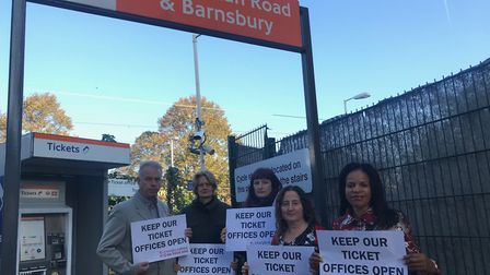 Councillors protesting the ticket office closures at Caledonian Road and Barnsbury station.