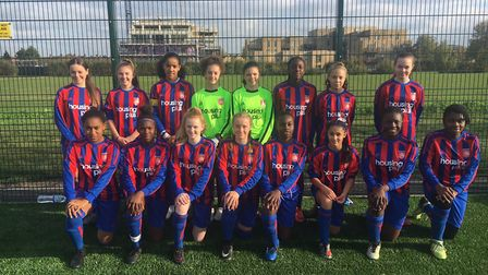 The Middlesex girls' under-14 team face the camera (pic: Middlesex Schools' FA)