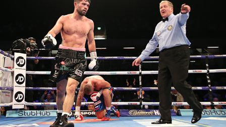 John Ryder sends his rival to the canvas (pic Natalie Mayhew/Butterfly Boxing)