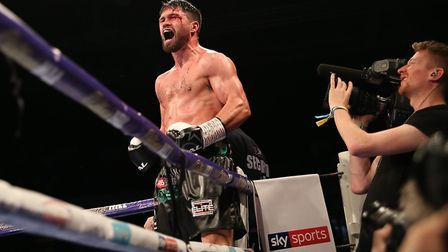 John Ryder celebrates his win (pic Natalie Mayhew/Butterfly Boxing)