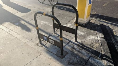 The cycle stands in 'the wrong place' in Blackstock Road. Picture: @Hackney_Cycling