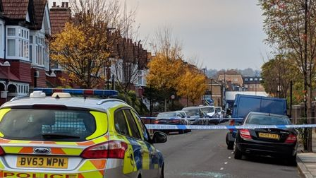 Police at the scene of the suspected stabbing in Biddestone Road.