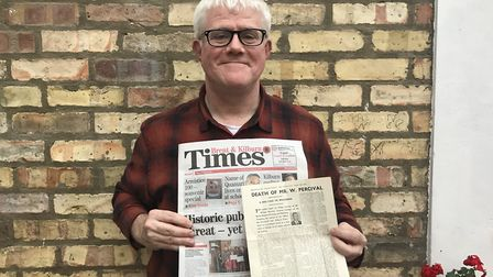 Martin Percival with the front-page story of his grandfather's death - and a modern-day copy of the