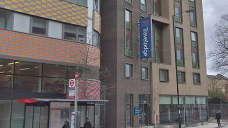 The victim stumbled into the Travelodge in Isledon Road. Picture: Google