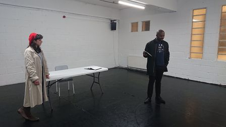 Kingsley Amadi and Emma Zadow in rehearsal for 'Miss Irrelevant' by Jeff Stolze. Picture: Untold Sto