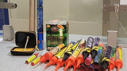 Officers from MPS Highbury East seized 32 fireworks last Wednesday. Picture: MPS Highbury East