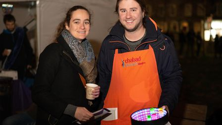 People from host group Chabad Islington with a glow in the dark dreidel game. Picture: Siorna Ashby
