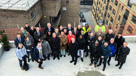 Guests at the topping off ceremony at the YMCA's new building in Errol Street. Picture: YMCA