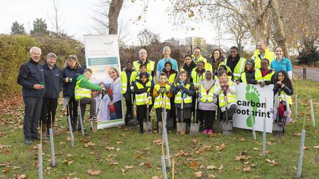 Newfield Primary School pupils helped to plant 100 sapling trees. Picture: Diane Auckland