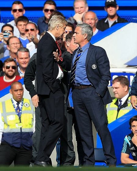Jose Mourinho and Arsene Wenger square up at Stamford Bridge during Chelsea's 6-0 victory over Arsen
