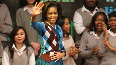 Michelle Obama, then the US First Lady, during a visit to Elizabeth Garrett Anderson School in Barns