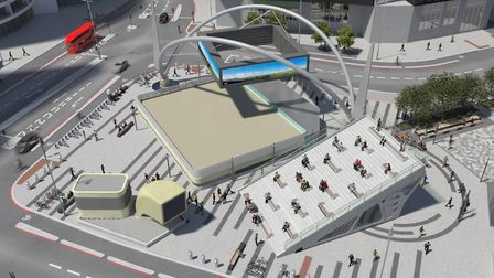 The road layout showing what Old Street roundabout will look like after the work is done . Although