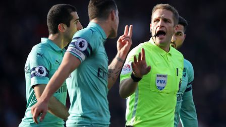Arsenal's Granit Xhaka appeals to referee Craig Pawson during the Premier League match at The Vitali