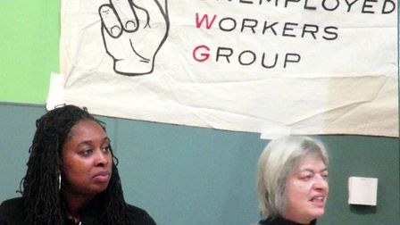 Dawn Butler MP and Giselle Winston of the Kilburn Unemployed Workers Group. Picture: Martin Francis