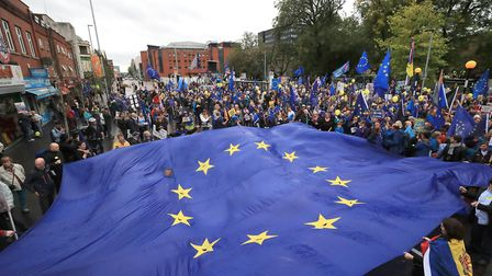 A rally before a Stop Brexit march outside the Conservative party conference. Photograph: Peter Byrn