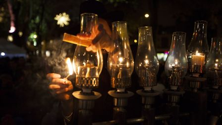 The event takes place on Islington Green to mark the first night of Chanukah. Picture: Jeremy Freedm