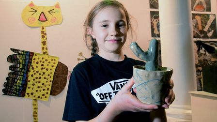 Loris Mills (10) pictured with her ceramic cactus at the launch event on Friday. Picture: Polly Hanc
