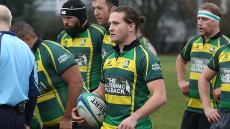 Finsbury Park scrum half prepares for a scrum in the match between Hitchin and Finsbury Park. Pictur