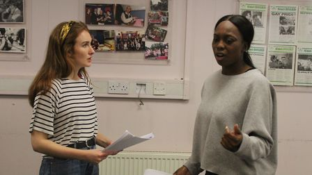 A shot from rehearsals of Dandelion, a play which comes to King's Head Theatre on December 16 and 17