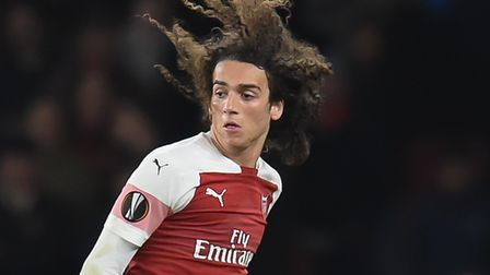 Mattéo Guendouzi of Arsenal and Nani of Sporting CP during the Europa League match at the Emirates S